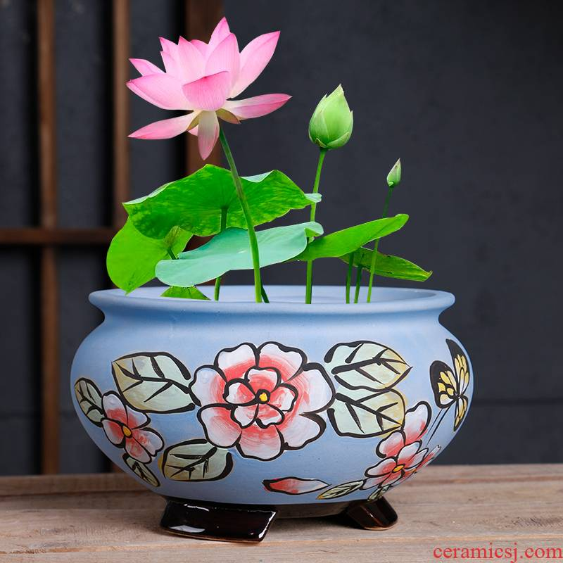 Refers to ceramic flower POTS, large diameter bowl LianHe flowerpot hand - made home hydroponic water to raise extra large money plant pot