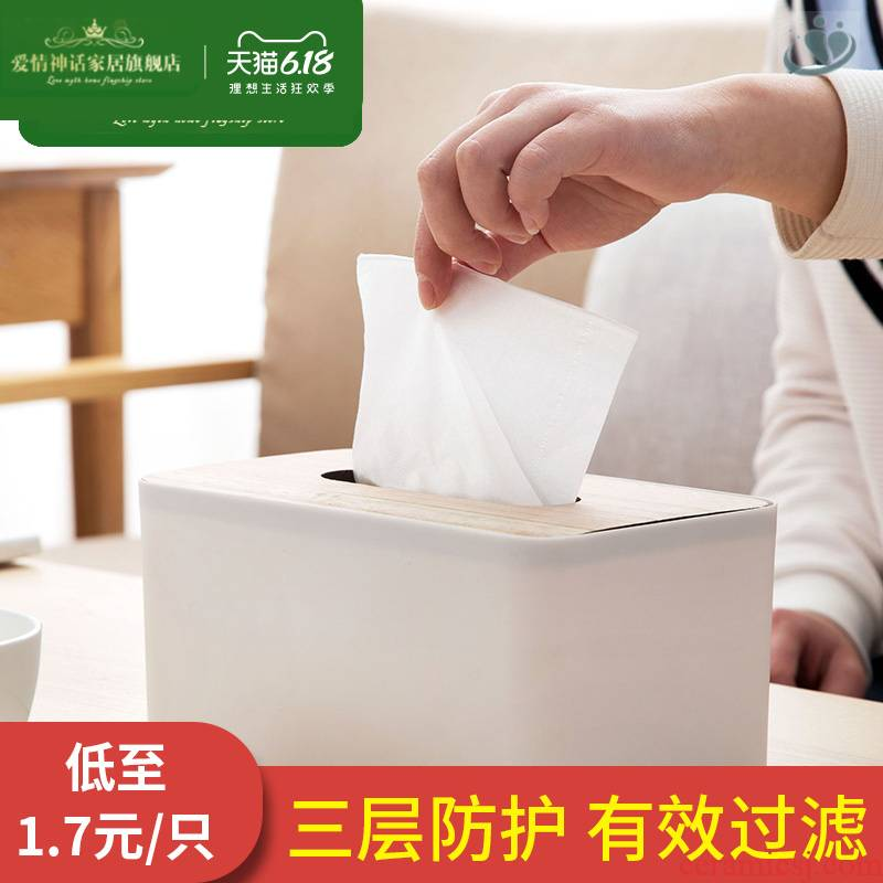 Solid wood cover tissue box creative paper suction box bedroom home European contracted sitting room tea table napkin paper carton