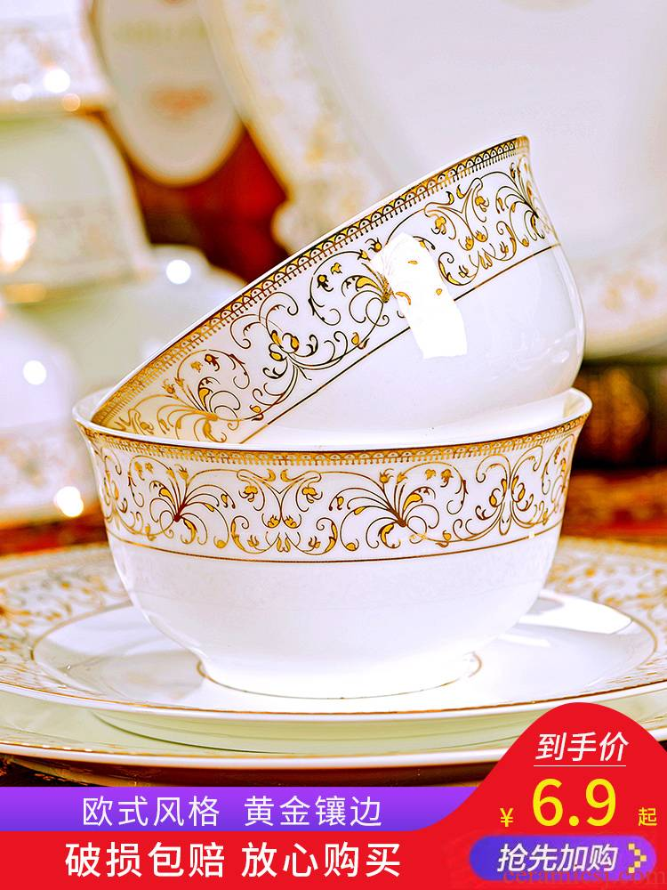 For household jobs the cutlery set dishes European dishes dishes soup bowl Nordic ceramic rice bowl chopsticks, Chinese style