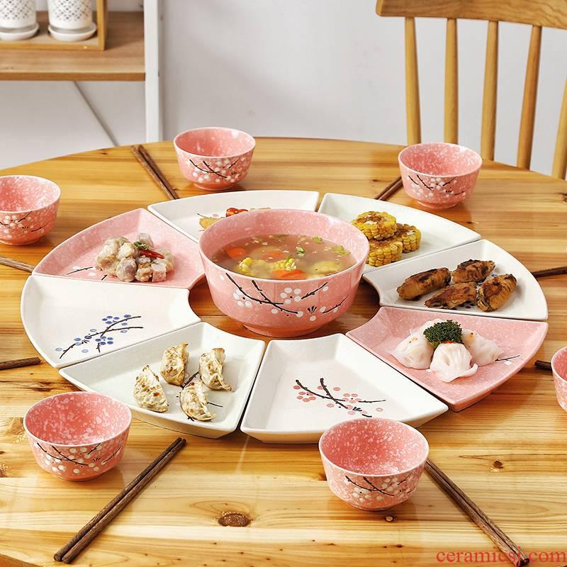 Household platter tableware portfolio ceramic plate round plate round sector 0 web celebrity the creative cutlery set