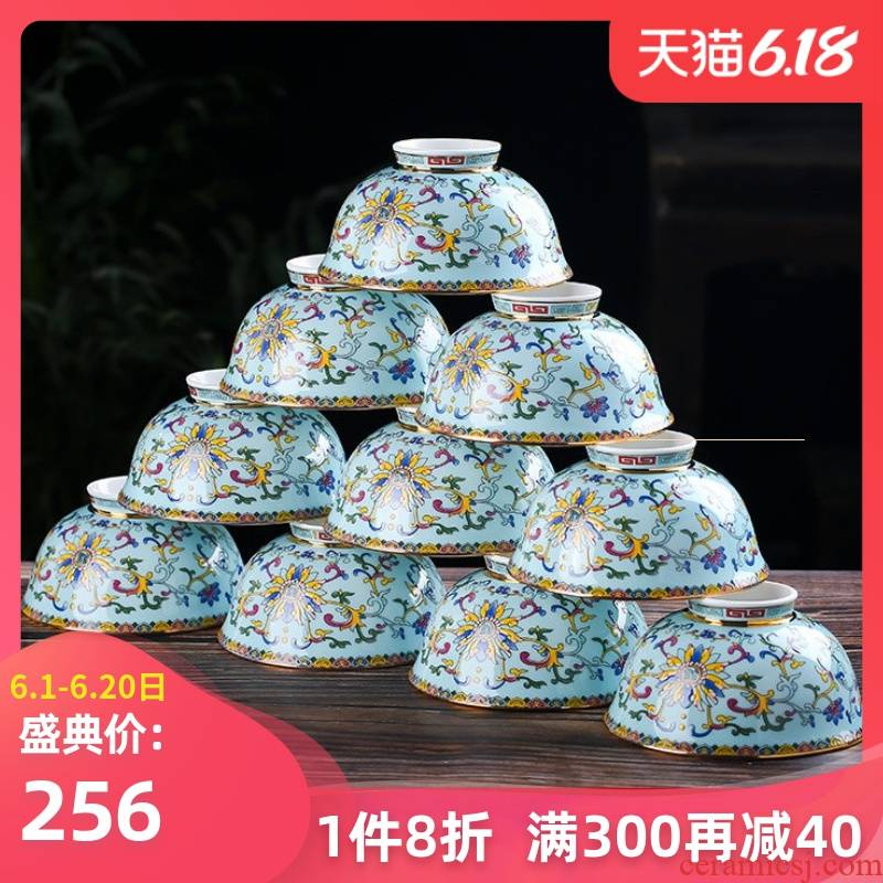 Jingdezhen ceramic dishes suit household meters tall foot job home a single bowl of 10-4.5 inch soup bowl