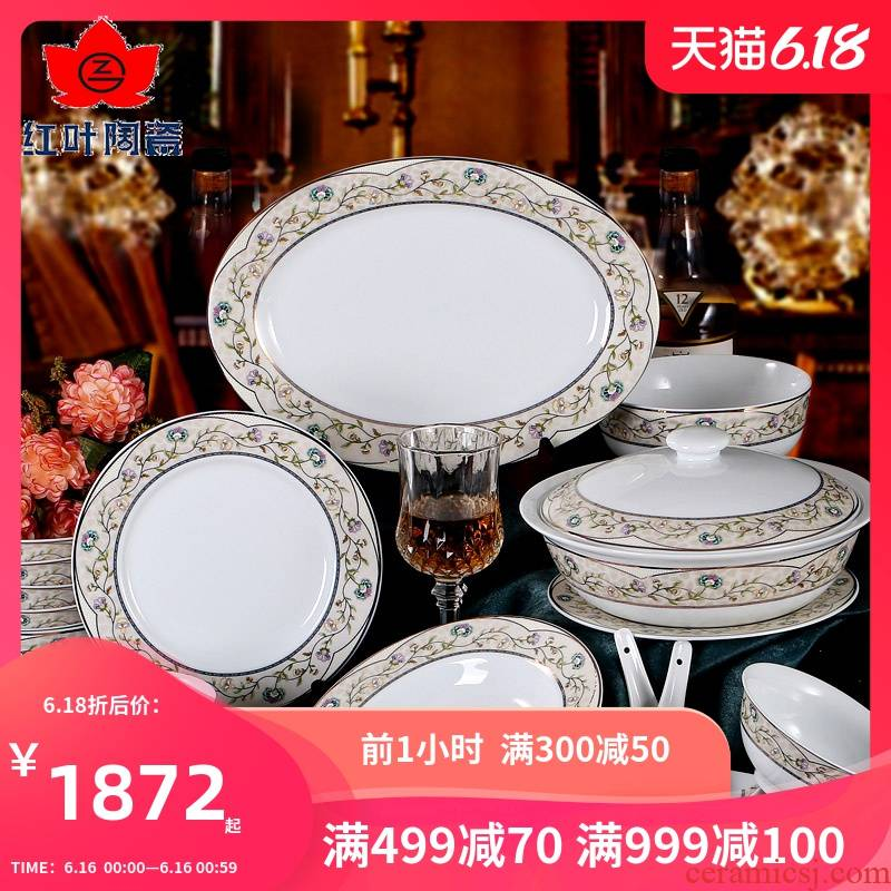 Red suit creative household European dishes suit tableware ceramic bowl dish 68 suits for Eden garden