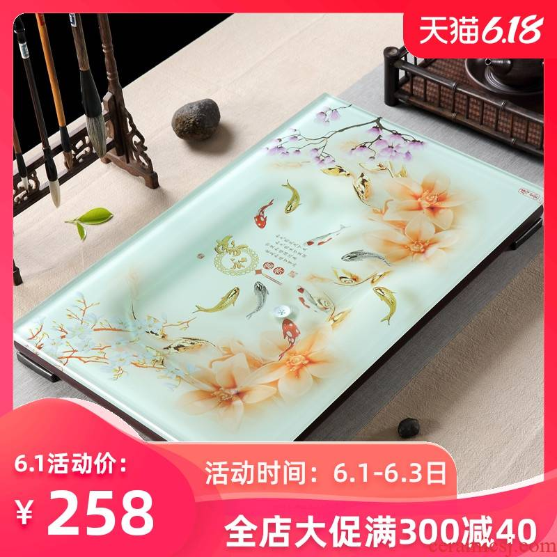 Home sitting room is I and contracted kung fu tea sets a rectangle big tea tray was toughened glass ceramic glass tea table