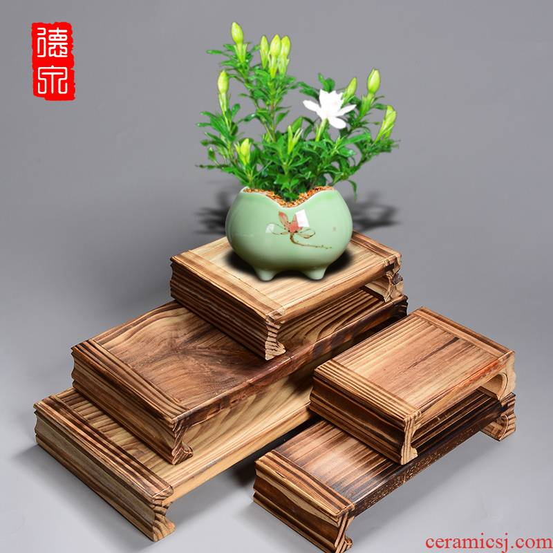 Classical creative pine solid wood, a square round wooden base bracket large fleshy green the plants flower POTS mortise and tenon be tray