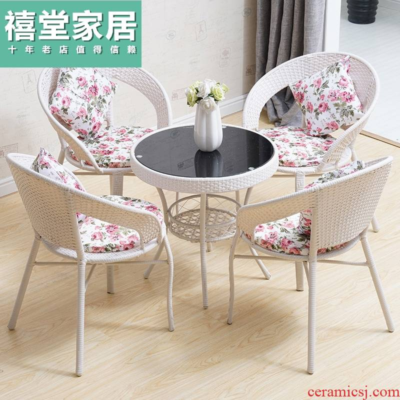 Small balcony chairs contracted toughened glass round tea table of the cane top service up leisure square modern tea tables and chairs