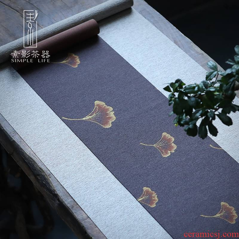 Plain film waterproof silk tea tea table cloth cloth table flag Japanese zen tea tea tea table cloth contracted and I tea taking