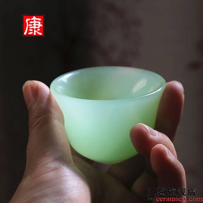 Coloured glaze jade glass cup small household glass classical Chinese liquor cup retro imitation jade jade cup pure manual products