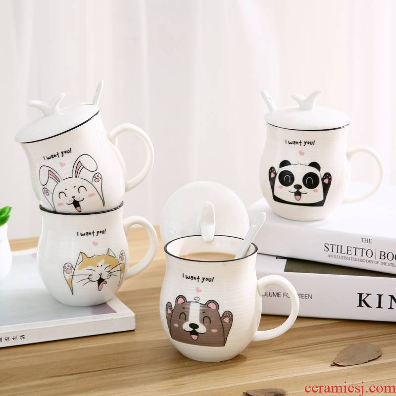 Creative lovely ceramic cup large - capacity glass keller contracted couples with cover with a spoon, coffee cup milk cup