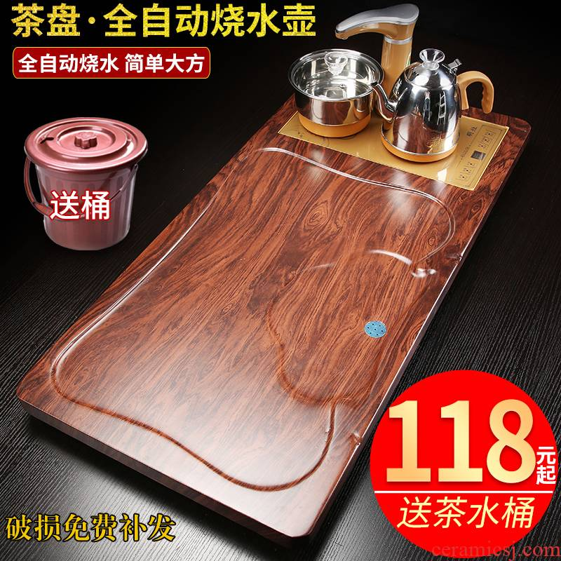 With electrical household solid wood, stone tea tray package half automatic one whole piece of solid wood king special processing