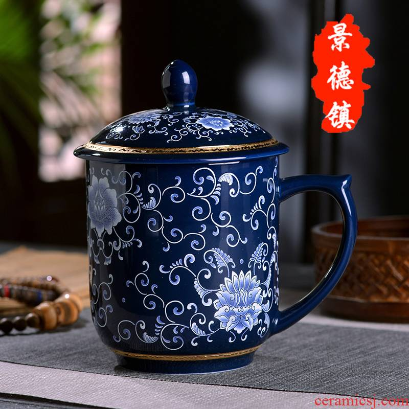 Office of jingdezhen blue and white porcelain cup large business ceramic cup with cover large capacity make tea cup boss cup gift box