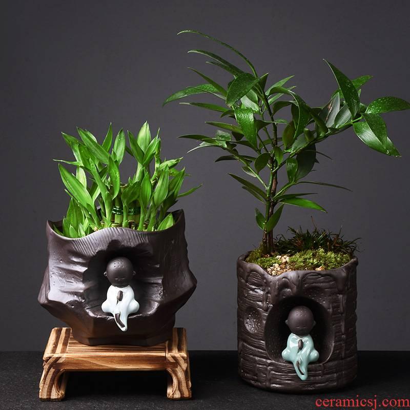 Zen monk purple sand flowerpot planting more creative ceramic office meat asparagus bracketplant rich tree money plant POTS