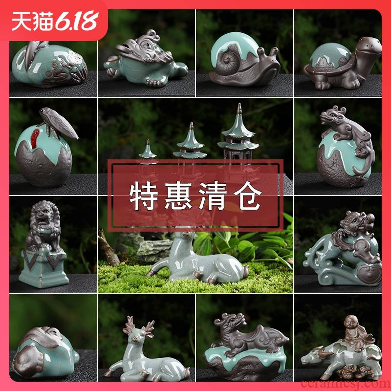 Creative, lovely brother ceramic up small tea pet boutique floret spoil the mythical wild animal tea pot on - board, furnishing articles package mail