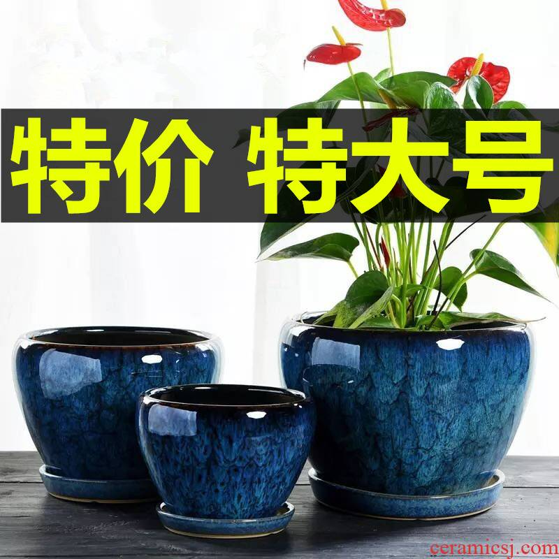 Flowerpot ceramics through pockets tao oversized clivia twelve other tray was most creative household meat flower pot
