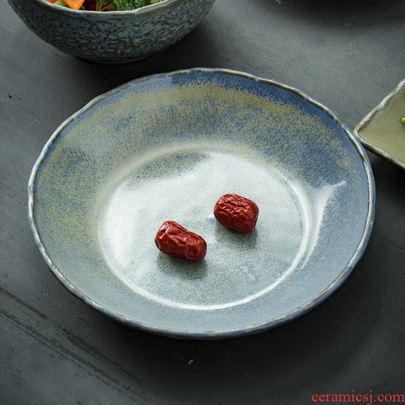 Japanese coarse after change manually restore ancient ways round rice dish ceramic plate household food dish shallow dish dish bowl
