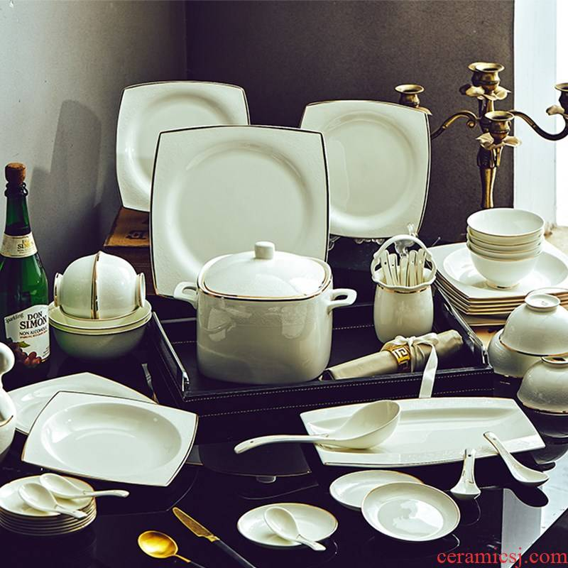 Dishes suit dinner set bowl dish home European contracted bowls of jingdezhen ceramic composite ceramics tableware