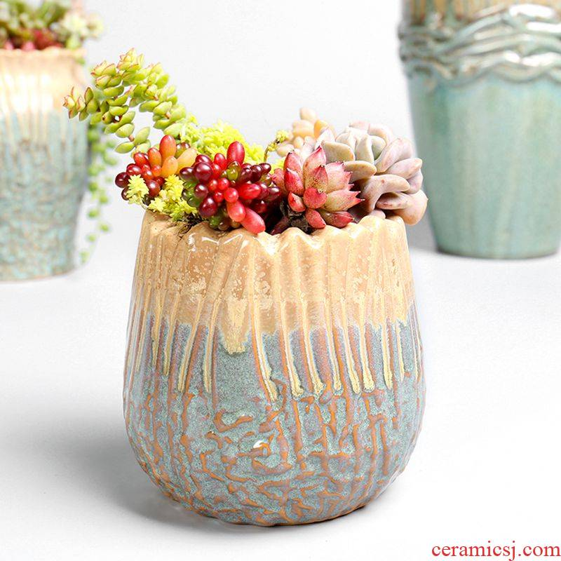 Creative move girl heart northern wind restoring ancient ways is green, cuhk small lovely fleshy flowerpot ceramic wholesale basis