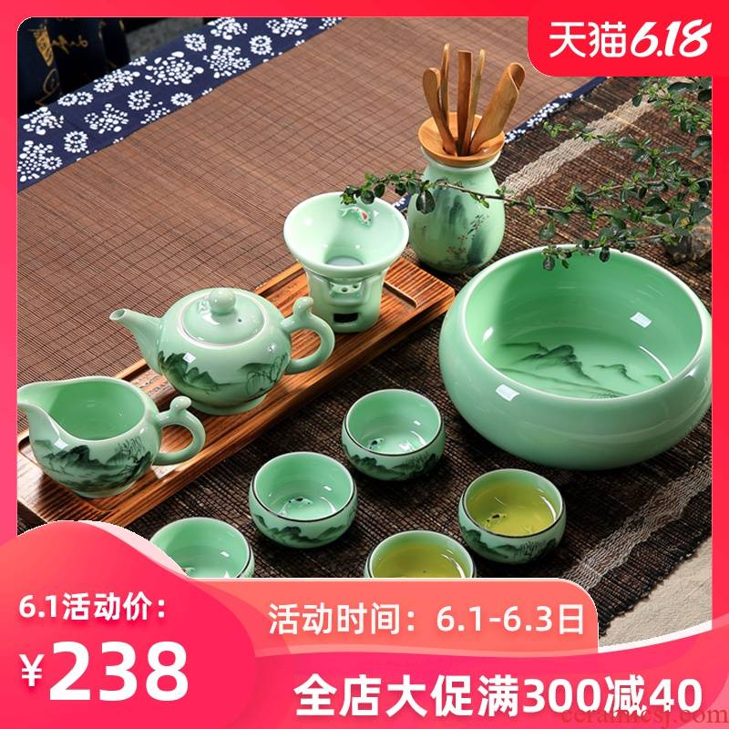 Household longquan celadon ceramics small kung fu tea set ceramic teapot teacup gift set gift suit Chinese style