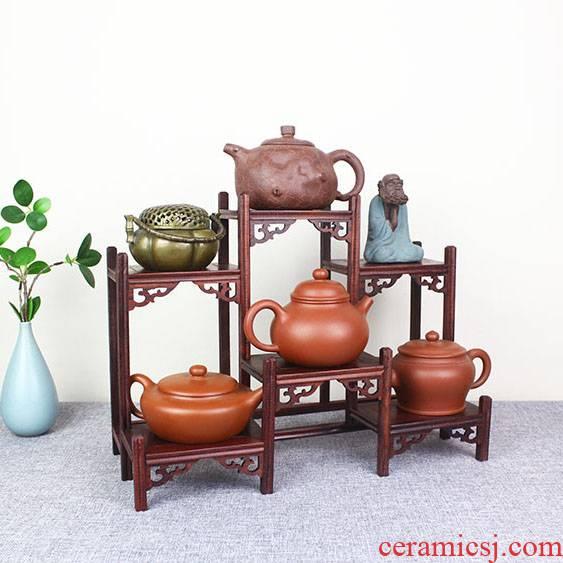 T solid wood tea tea tea cake stand little rich ancient frame cabinet shelf receive shelf region of purple sand teapot tea