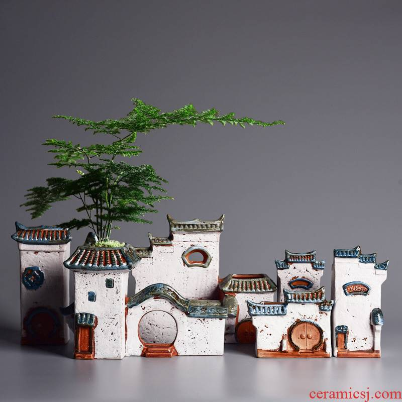 Creative ceramic household micro moss calamus asparagus pot jiangnan landscape wind house, potted landscape basin to much meat