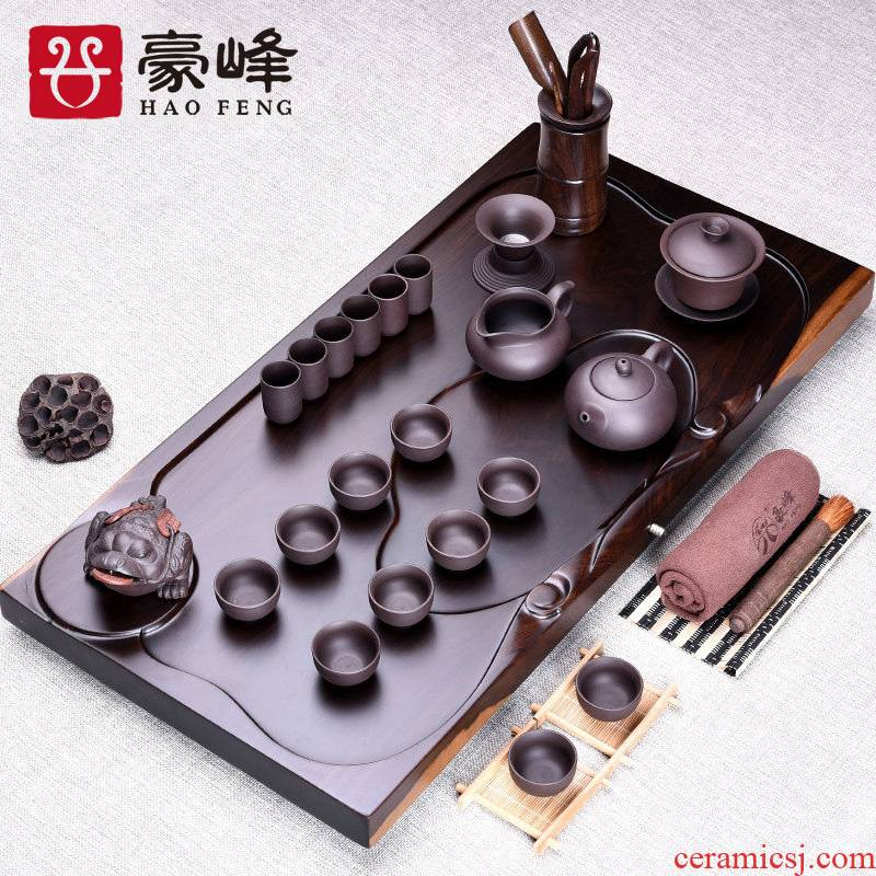 HaoFeng the whole piece of ebony wood tea tray tea saucer sea of a complete set of kung fu tea set