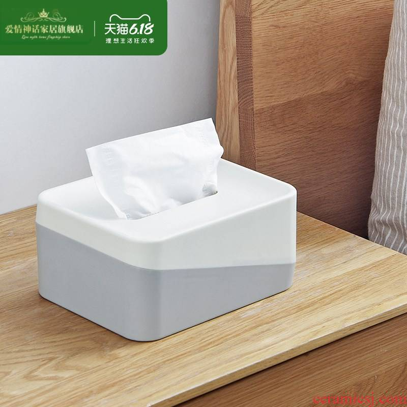 Sitting room plastic tissue box home stitching color face paper napkin box contracted northern wind tea table smoke box