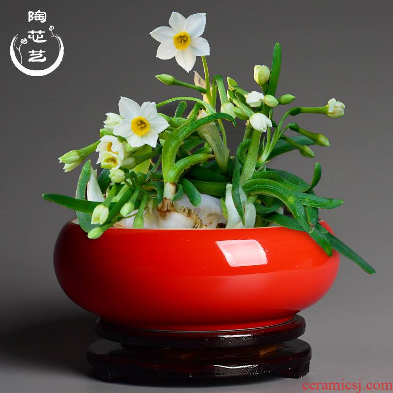 Refers to flower pot hydroponic household ceramics creative copper grass move large water raise water lilies round his Chinese wind