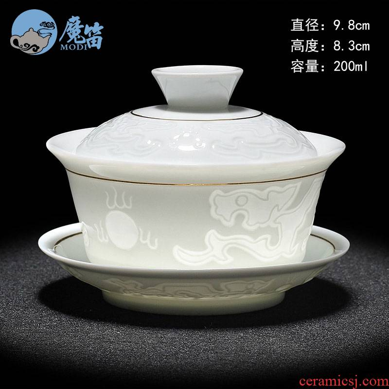 The flute pure manual only three tureen large tea cups white porcelain ceramic household jingdezhen blue and white porcelain tea bowl