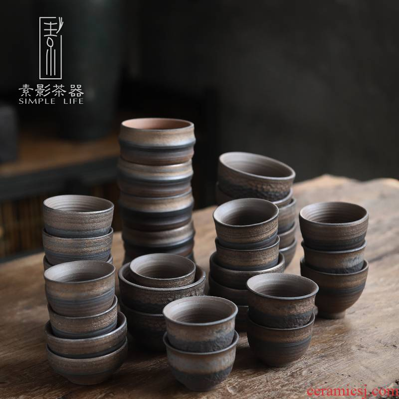 Plain film and old rock, coarse pottery teacup of single CPU retro Japanese large kung fu tea set no glaze masters cup but only