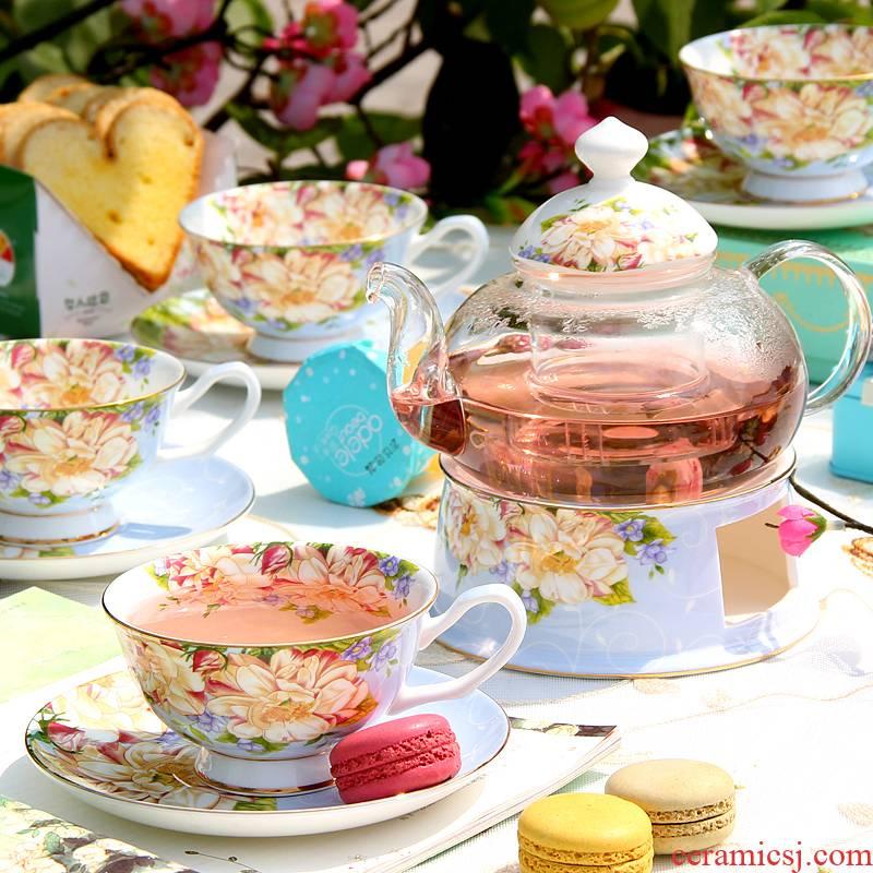 Afternoon tea tea cups fruit tea pot set heating ceramic light key-2 luxury glass tea cups household candles