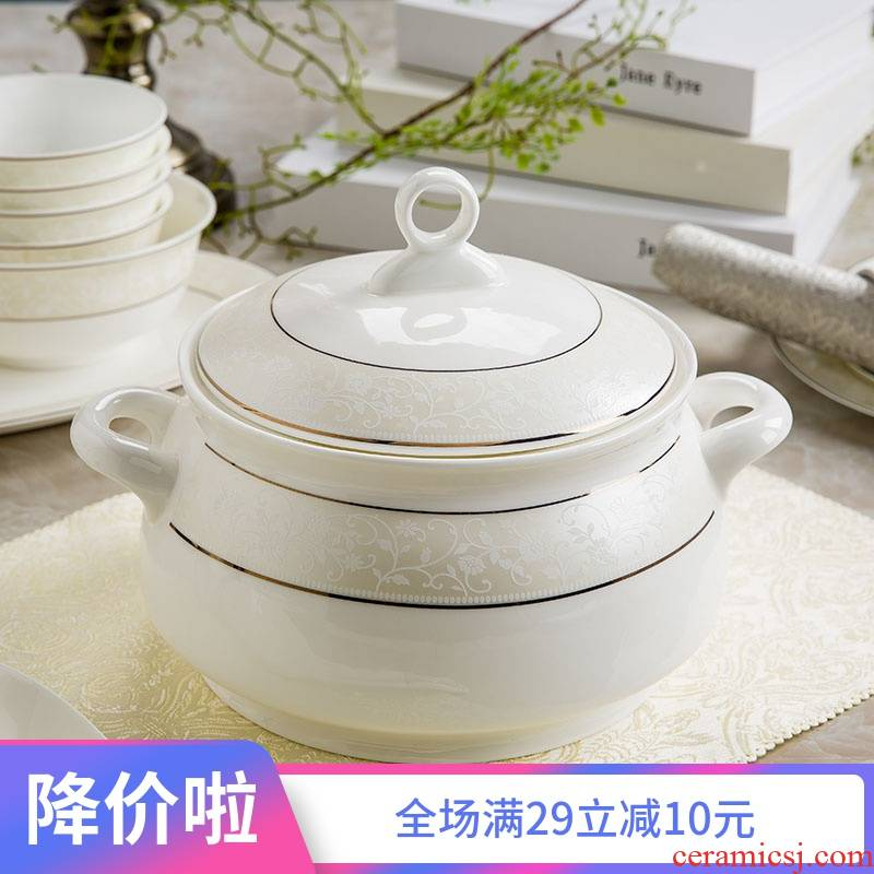 Jingdezhen with cover round ceramic basin palace in clay pot soup dishes suit creative large - sized domestic large bowl of soup bowl