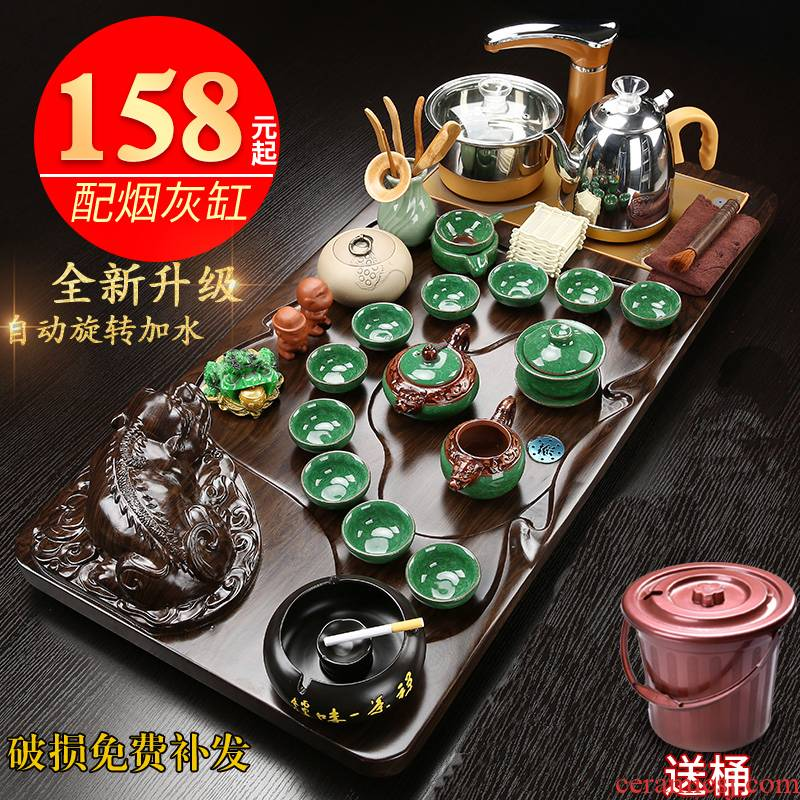 Household ceramics kung fu tea sets tea tray was contracted sitting room tea table of a complete set of solid wood tea tray cups magnetic electric heating furnace