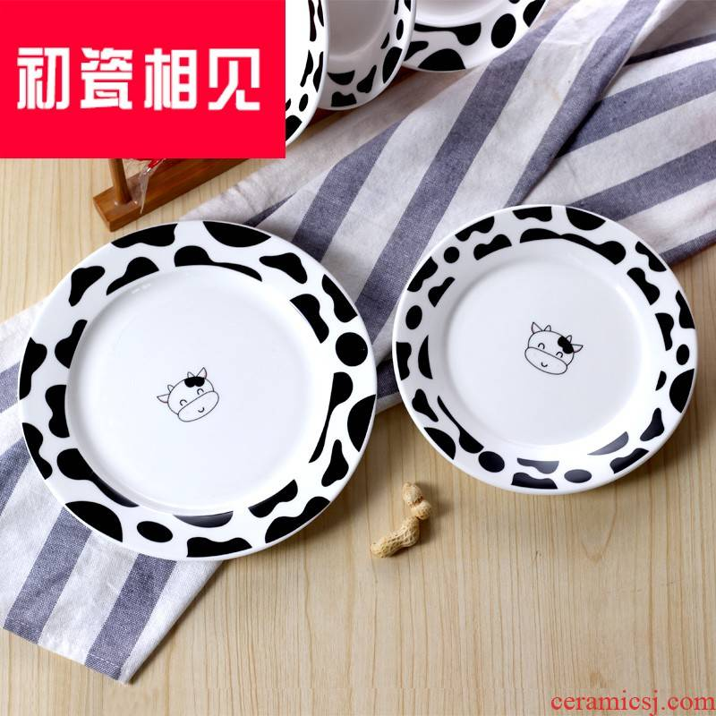 Ten - day home cows disc ceramic tableware porcelain meet each other at the beginning of the creative household cow cartoon panda plate ceramic pottery plate