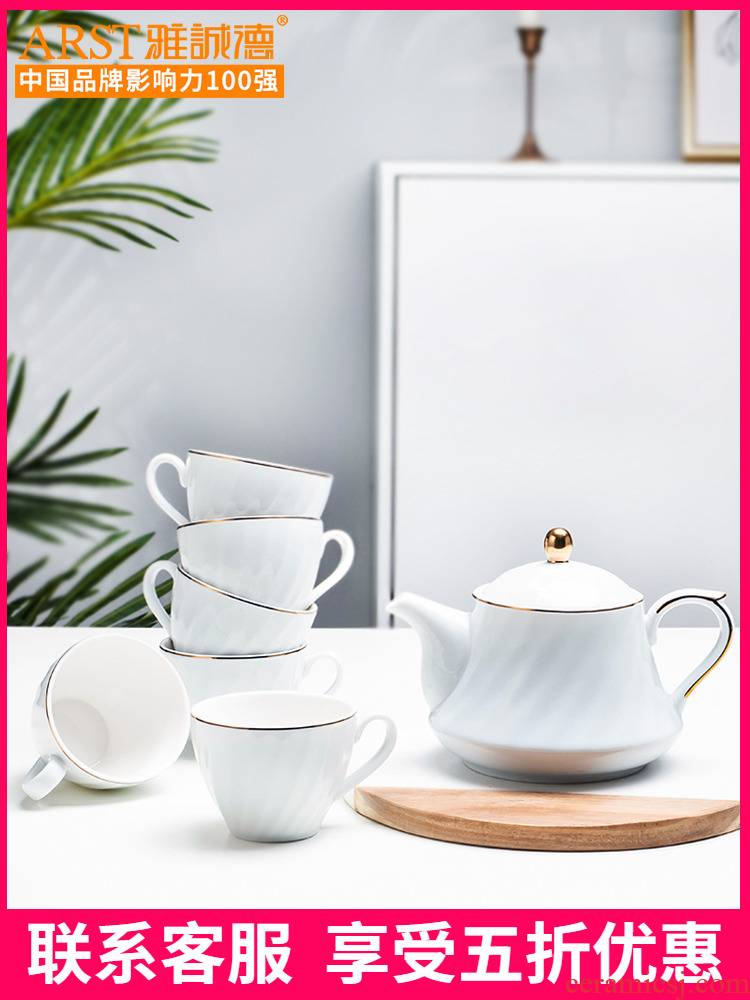 Ya cheng DE tea set, ceramic water with Nordic light key-2 luxury glass teapot home outfit cup contracted sitting room of Europe type