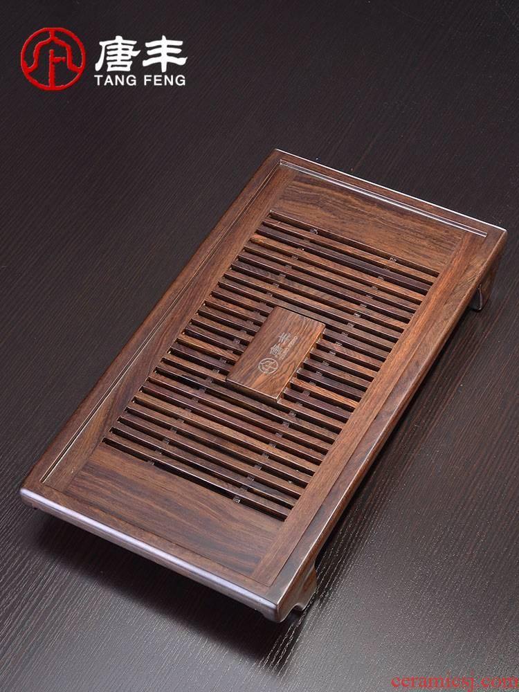 Tang Feng ebony tea tray household contracted rectangular solid wood kunfu tea tray table storage tea sea Z the drawer