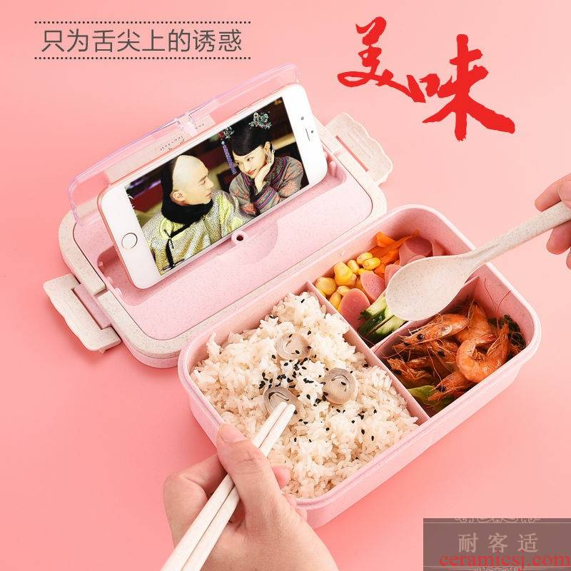 Wheat straw portable lunch box can be microwave Korean students bento female leakproof with cutlery boxes