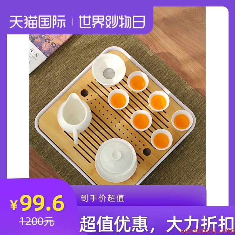 Dehua white porcelain tea set a complete set of kung fu tea set porcelain Japanese visitor contracted the teapot tea cups