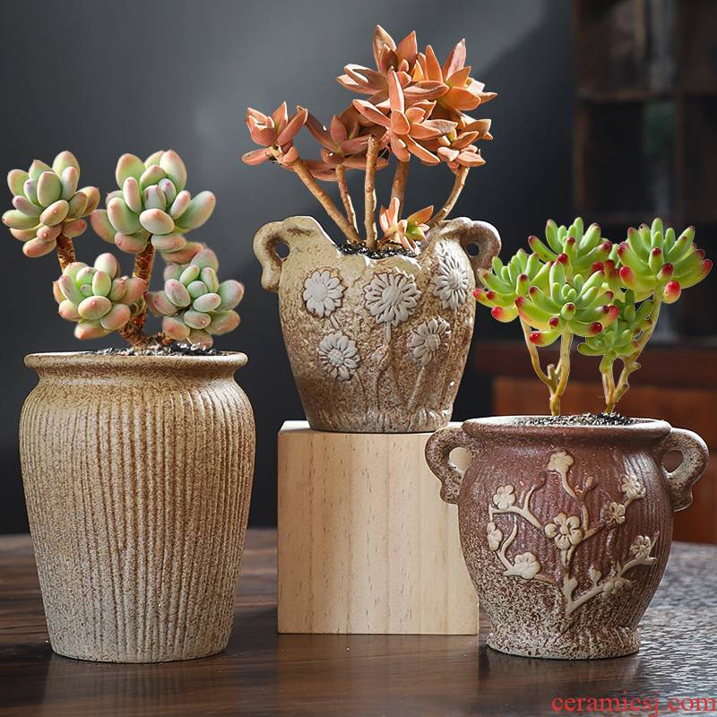 The Fleshy old set of running the flowerpot ceramic special offer a clearance coarse pottery breathable large caliber meat meat the plants potted package mail