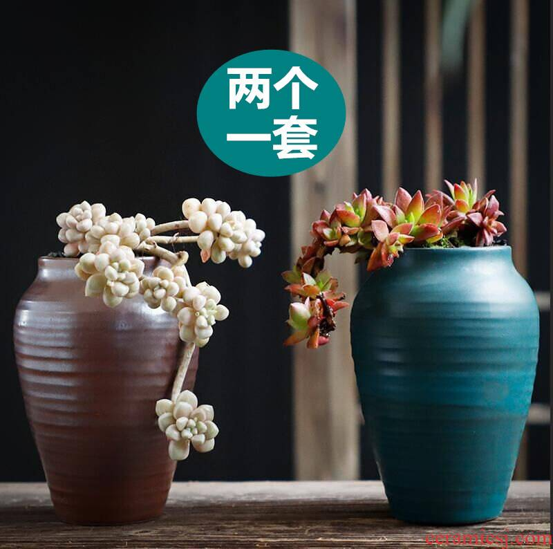 Mage flowerpot specials coarse pottery large diameter ceramic large creative move meaty plant basin of the old running money plant flower pot