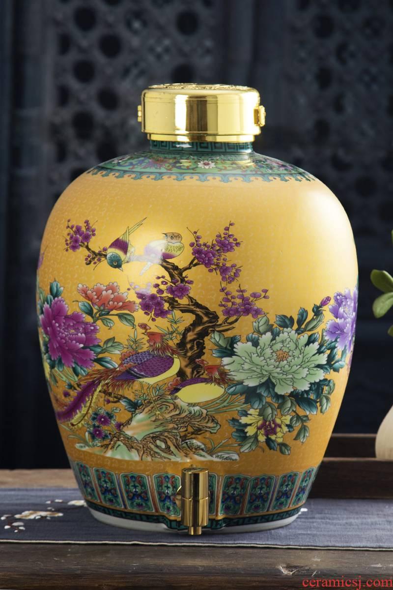 Jingdezhen ceramic jars 10 jins 20 jins 30 jins 50 kg sealed jars home wine mercifully jars liquor as cans
