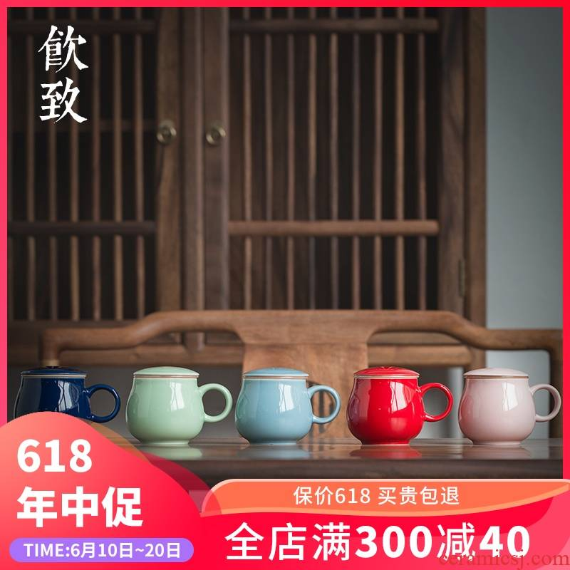 Ultimately responds to restore ancient ways filtering cup tea cup tea cup with seperate) ceramic with cover cup contracted single CPU