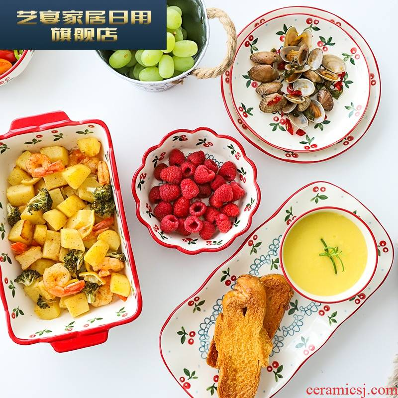 5 sl cherry than ceramic tableware suit long tableware chopsticks soup bowl bowl meal plate plate rainbow such use