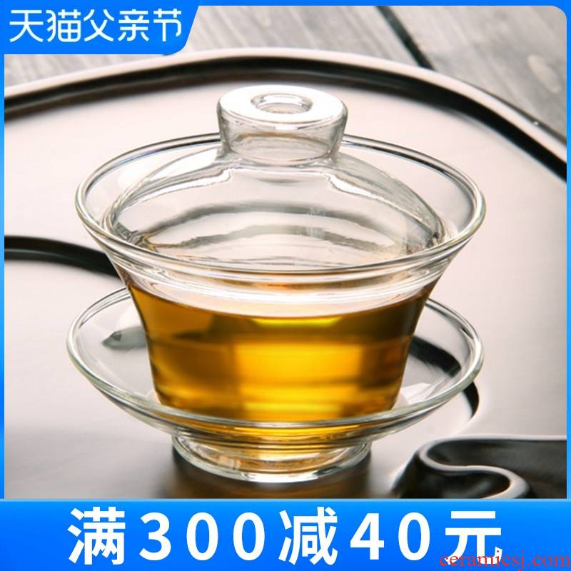Large glass three to kung fu tea tea set, tea ware tureen suit household ceramic bowl cups little restoring ancient ways