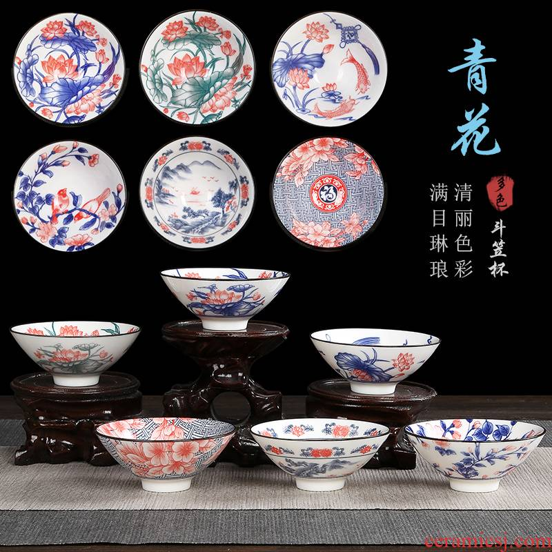 The flute blue and white porcelain ceramic tea cup hand - made kung fu tea tea set, sample tea cup hat to cup The master cup single CPU