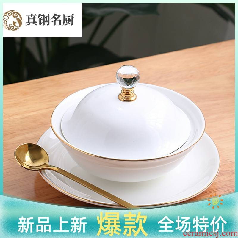 European fuels the bird 's nest milk soup bowl bowl palace high - grade ceramic bowl of soup cup steamed egg bowl and cup western dessert bowls