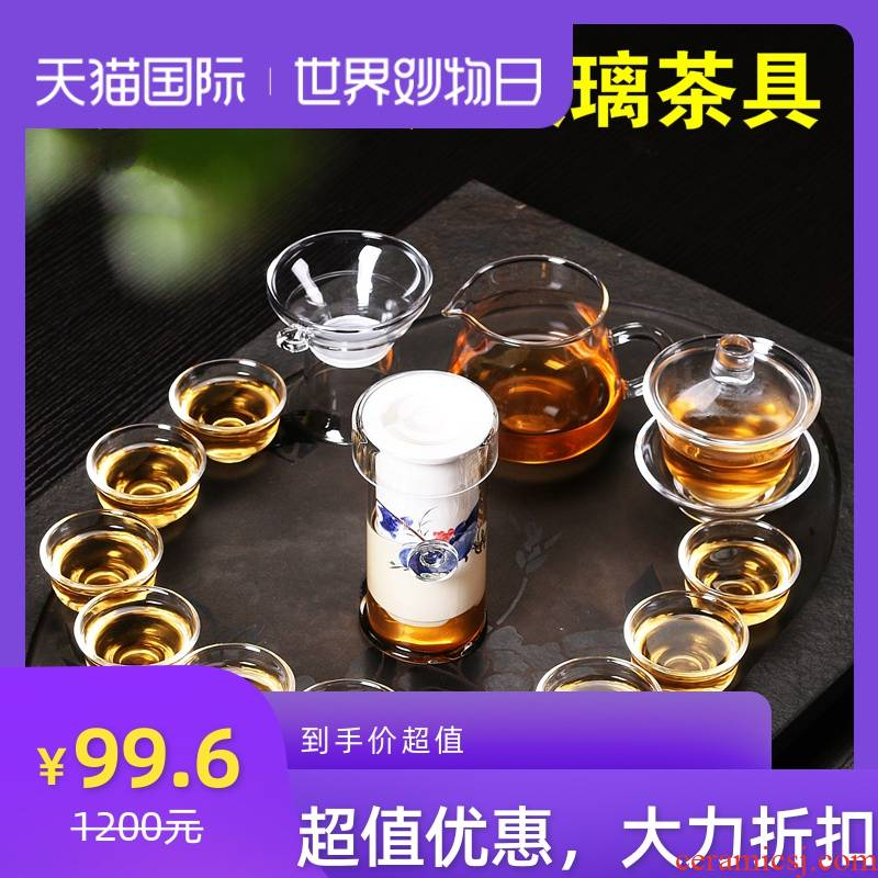 Transparent glass tea sets suit household kung fu tea cup upset heat - resistant combination of a complete set of I and contracted package mail