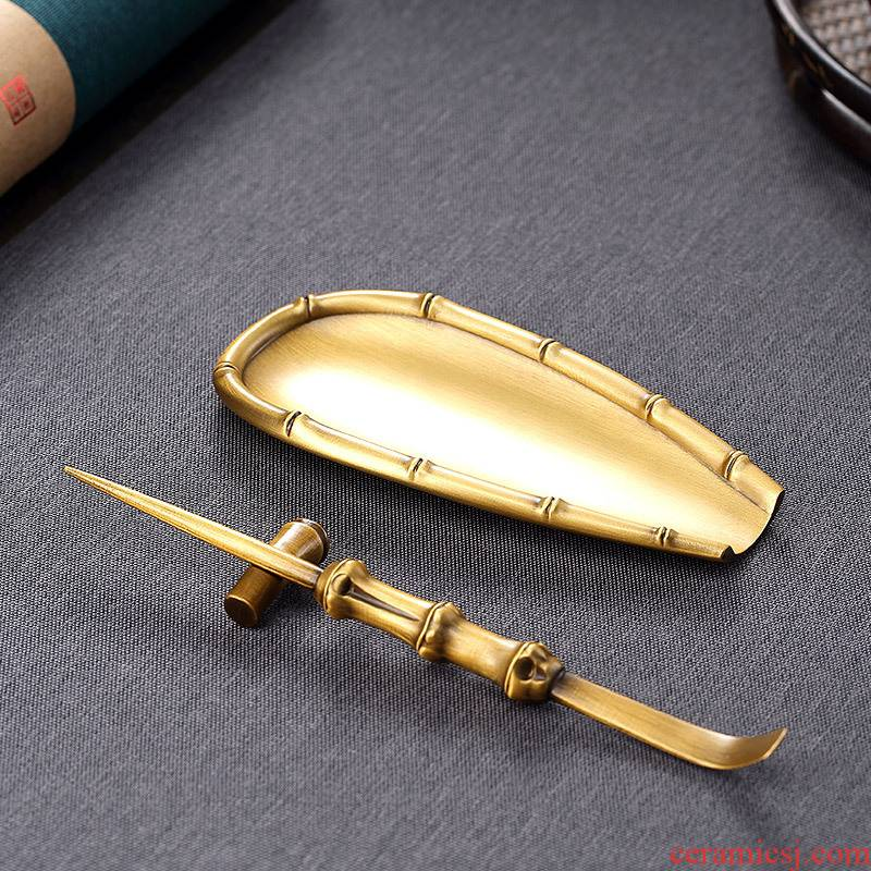 Morning tea, high pure copper three - piece ChaZhen dial the tea spoon tea holder kung fu tea tea suspensions copper fittings
