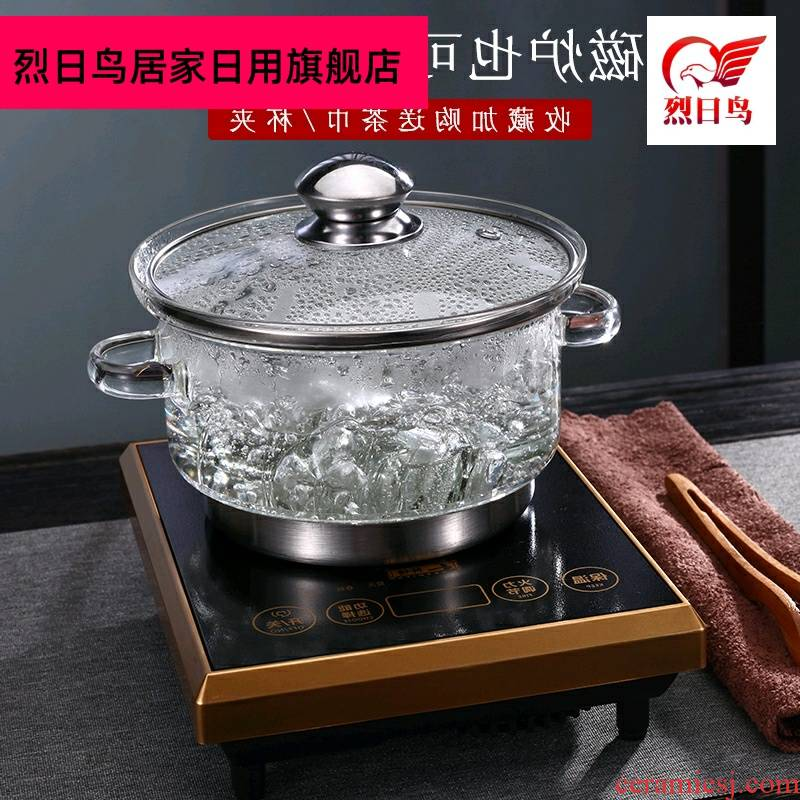 Glass wash pot with cover with flat tea to induction cooker the boiled tea, the electric heating TaoLu tea ware