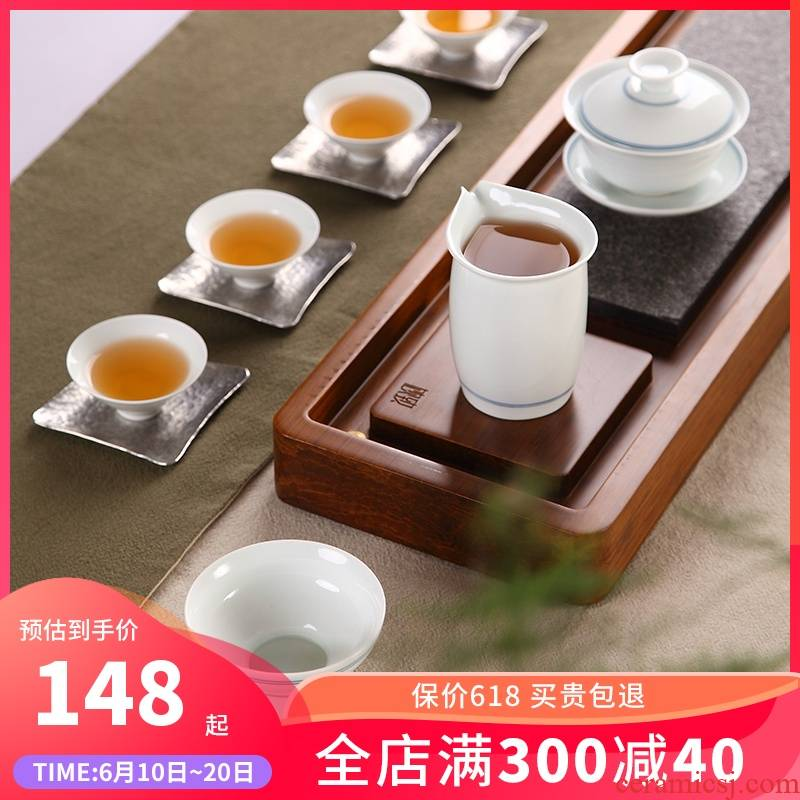 Ultimately responds to hand - made xuan wen kung fu tea sets jingdezhen tureen fair keller cups of a complete set of household contracted tea art