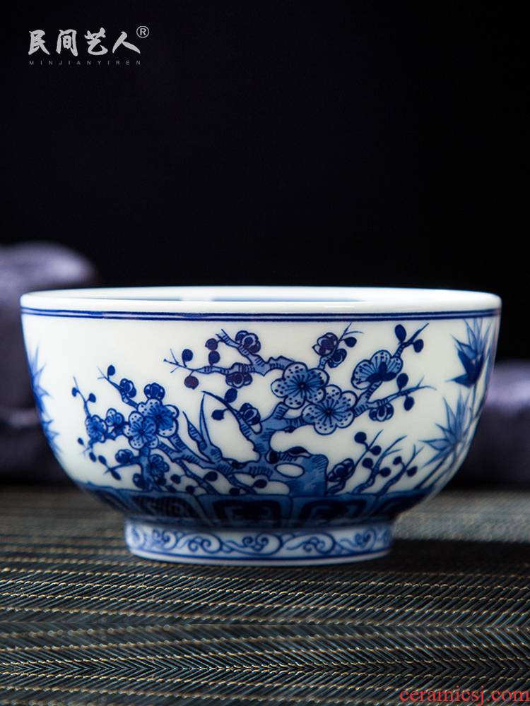 Folk artists hand - made, poetic big master of blue and white porcelain cup single CPU jingdezhen ceramic kung fu tea cups