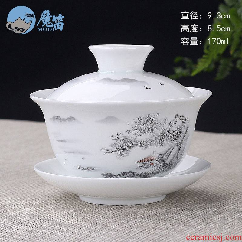 The flute tureen to use large single three cups to make tea, white porcelain kung fu tea set jingdezhen violet arenaceous celadon